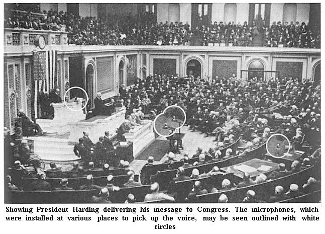 President Harding delivering speech to Congress
